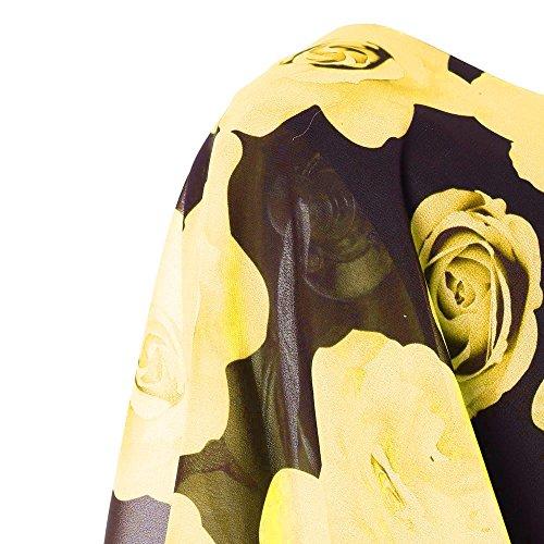 de Jaune Femme de Robe Robe Plus Volants Ete Mini Robe soire 2 Taille Dames Lonshell Mousseline Soie Imprimer qwCqraY