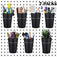 Vextronic 7 Sets Pegboard Bins with Rings, Pegboard Buckets Cups with Hooks to Any Pegboard Home Office Access