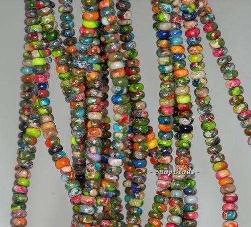4X2MM Rainbow Imperial Jasper Gemstone Grade AA RONDELLE 4X2MM Loose Beads (16' 2mm Stone)