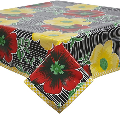 Big Flowers and Stripes Black Oilcloth Tablecloth with Ye...