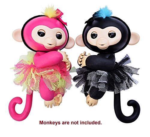 Monkey Glam   4 Piece Glamorous Reversible Tutu And Headband Set   Perfect For Dolls And Interactive Baby Monkeys   Great Xmas Gift Accessory  Pink Black
