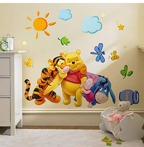 Friends with winie Pooh Wall Stickers for Kids Room Decorations 2006. DIY PVC Animals Movie Home Decals 3D Mural Art Posters 4.0