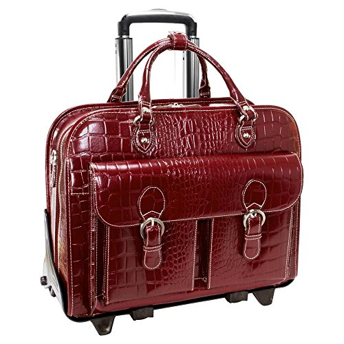 Siamod SAN MARTINO 35306 Red Leather Ladies' Detachable-Wheeled Laptop Case