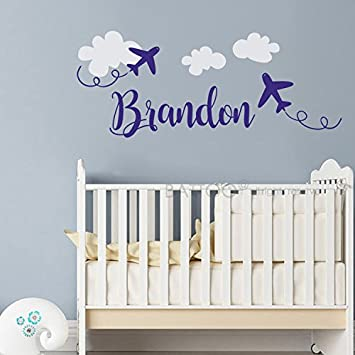 BATTOO Airplane Name Wall Decal Boy- Personalized Name Decals 22u0026quot;W For Boys-  sc 1 st  Amazon.com & Amazon.com: BATTOO Airplane Name Wall Decal Boy- Personalized Name ...