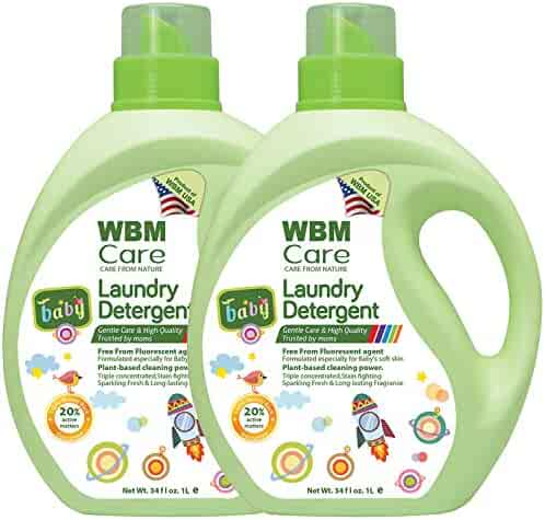WBM LLC 8615-2PK Pack of 2 High Quality Liquid Laundry Detergent, Natural for Baby, Newborn, 34 Ounce | 50 Loads Each, 34 oz, 2-Pcs
