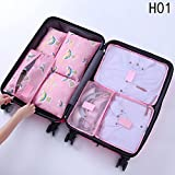 TorDen 7 Set Packing Cubes with Shoe Bag Compression Travel Luggage Organizer Perfect Travel Accessories (A)