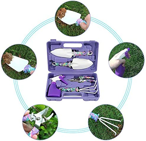 PiscatorZone Garden Tools Set, Gardening Tools Set, 5 Pieces Gardening Gifts Gardening Planting Gardening Tools Set Home Gardening Flowers Vegetables Potted Flowers Trim
