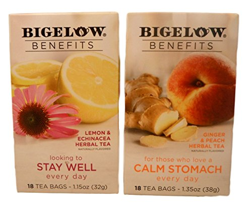 Bigelow Benefits Stay Well and Calm Stomach Herbal Tea Bundle - 2 Boxes of Tea: One each Stay Well and Calm Stomach