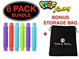 Fun & Toys Inc. Poof Pop Tubes (Toobs) Set of Six (Colors May Vary) by Poof Slinky With Bonus Storage Bag