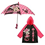 Disney Girls' Little Assorted Characters Slicker and Umbrella Rainwear Set, Minnie Mouse Pink, Age 2-3