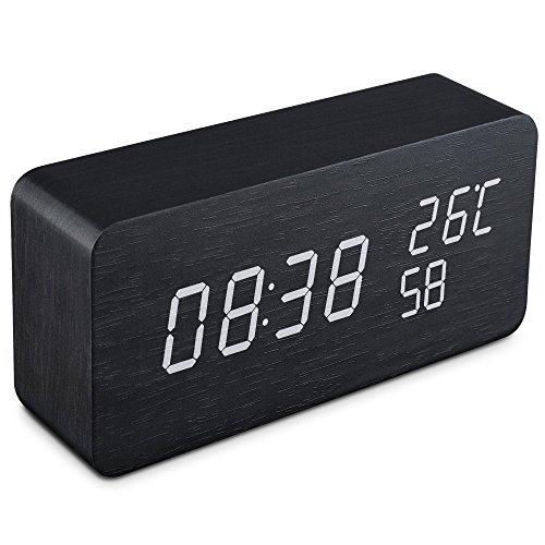 Qoosea Reloj Despertador LED Reloj de Alarma de Madera Comando de Voz táctil Relojes Digitales USB