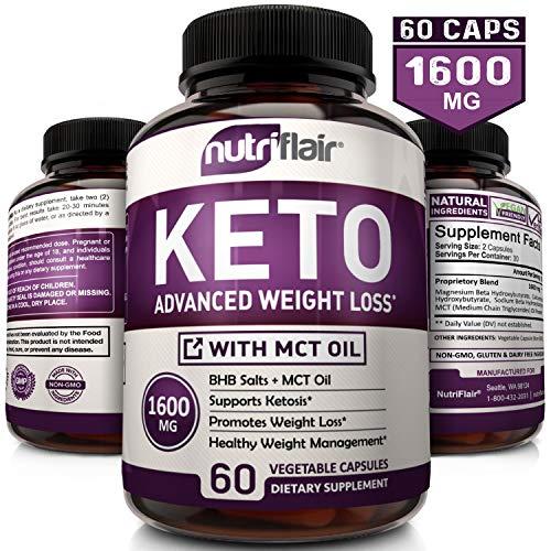 NutriFlair Keto Diet Pills 1600mg -...