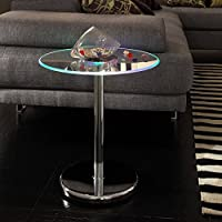 MID-CENTURY LIVING Lorin End Table Modern LED Accent Table, Material: Chrome, Glass, Metal, Wood