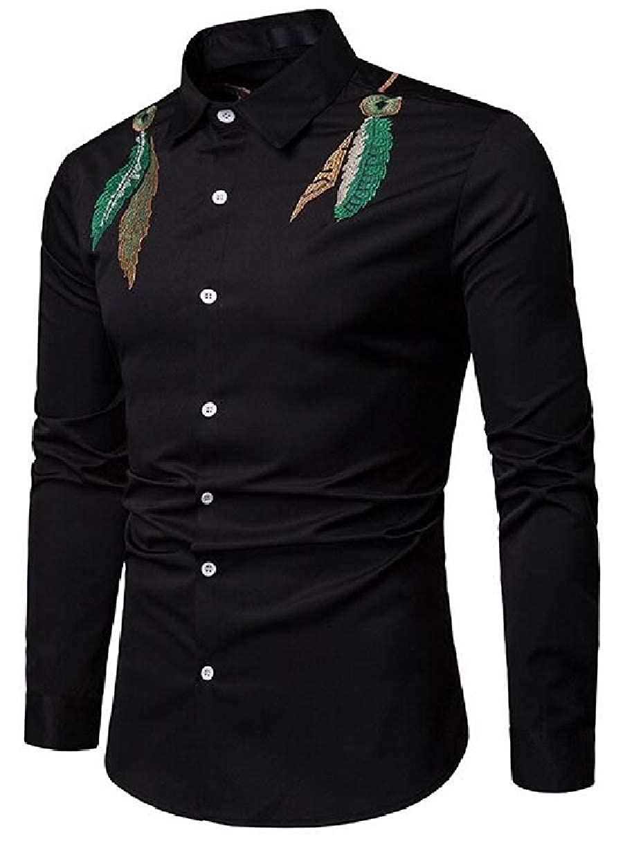 ZXFHZS Mens Long Sleeve Leaf Embroidery Slim Casual Button Down Retro Shirts