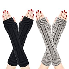 Bearbro Women Arm Warmers Gloves,2 Pairs Arm Warmers Fingerless Thermal Gloves Wrist Gloves Winter Warm Fashion Mitten Knit Crochet, Christmas Gift Ladies