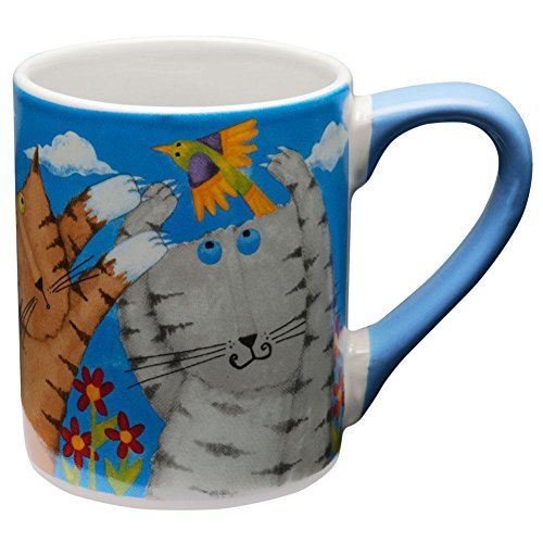 (Animal World - Cats Chasing Birds Coffee Mug - Light Blue by Gibson )