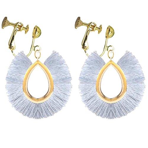 Bohemian Oval Teardrop Gray Silk Fringe Clip on Earrings Gold Plated Prom Bar for Girls Women Wear Gift