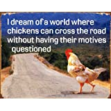 Humour Tin Sign featuring a Road Crossing Conundrum 42x30cm