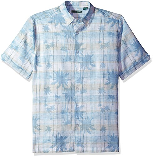 Cubavera Men's Short Sleeve Linen-Blend Tropical Floral Print Button-Down Shirt, Blue Plaid with Bright White, Medium ()