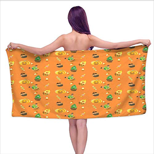 Sports Towel Watercolor Halloween Pattern with Cupcakes,W20 xL39 for Men red ()