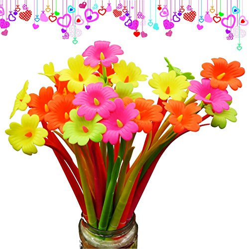 BUOP Novelty Design Cherry Blossom Flower Style Ball Point Pen, Cute Cartoon Silicone Flower Fine Point Black Rollerball Gel Ink Pen, Two Dozen (24pcs) Box -
