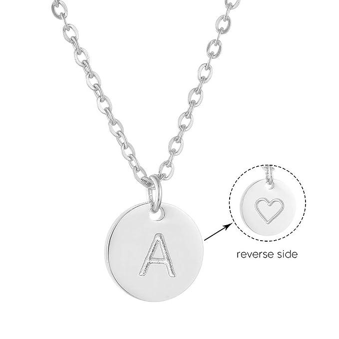 AFSTALR Colgantes Iniciales Mujer Plata Collar Letras con Corazón Nombre Redondo(1cm) Personalizado Letras Joyería Regalo de Cumpleaños