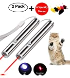 Cat Laser Pointer Interactive Dog Toy 2 Pack – 2 Mode Red Dot   Flashlight   Pet Training Exercise Tool with extra bonus of a Squeaky Mouse