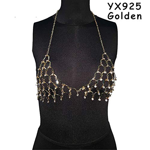 (Cleaner Toys Adult Women Sexy Bra Chain Rhinestone Crystal Hollow Out Bralette Summer Beach Holiday Cropped Tops Sexy Lingerie BR028 YX925 Golden One)