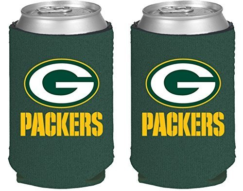 NFL Football 2014 Team Color Logo Can Kaddy Holder Can Cooler 2-Pack (Green Bay Packers)