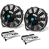 (Pack of 2) 7 Inch High Performance 12V Electric Slim Radiator Cooling Fan w/Mounting Kit - Black