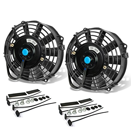 ((Pack of 2) 7 Inch High Performance 12V Electric Slim Radiator Cooling Fan w/Mounting Kit - Black)