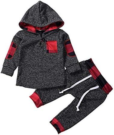 Odziezet Baby Kleidung Set Jungen Romper Langarm Sweatjacke M/ädchen Outfits Hoodie Kombination 3-18 Monate