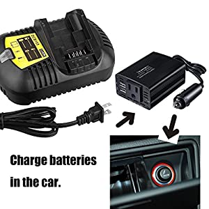 Weistar Replace for DEWALT Car Charger DCB119 12-Volt MAX and 20-Volt MAX Li-Ion Vehicle Household Battery Charger With 12V to 110V Adapter