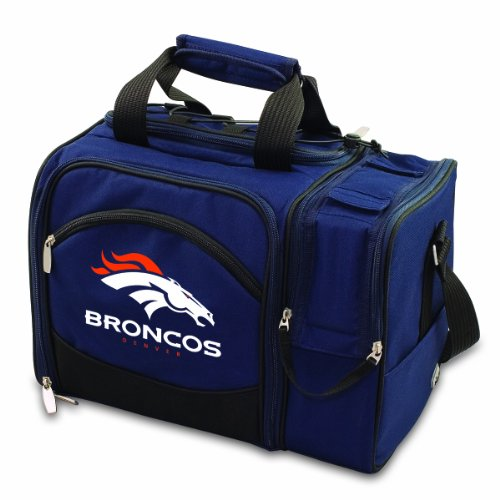NFL Denver Broncos Malibu Insulated Shoulder Pack with Deluxe Picnic Service for Two