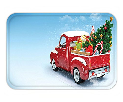 Minicoso Doormat Christmas Decorations Bright Red Classic Pickup Truck with Xmas Tree Gifts and Ornaments Snow Winter Day Decor Blue Red (Doormats Christmas Frontgate)