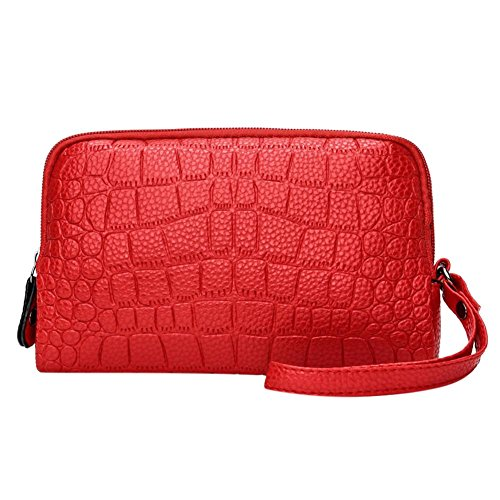 Phone Wristlets Red PU Women Holder Handbags Domybest Zipper Coin Leather Wallet Clutch qA4nCxw7