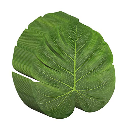 Livder 13.5 Inch Tropical Palm Leaves, Imitation Plant Leaf for Hawaiian Beach Jungle Party Decorations Party Table Decorations, 25 Pack