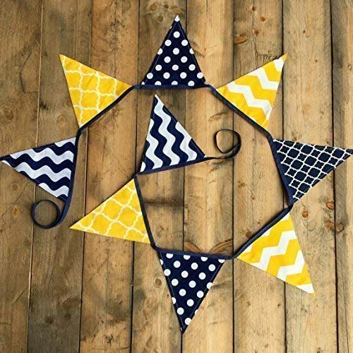 (Fabric Flag Party Banner Bunting Navy Blue Yellow Gold)