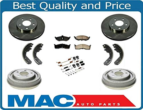 New Front Rotors Rear Drums Brake Pads Shoes Spring Kit for Dodge Neon 00-05