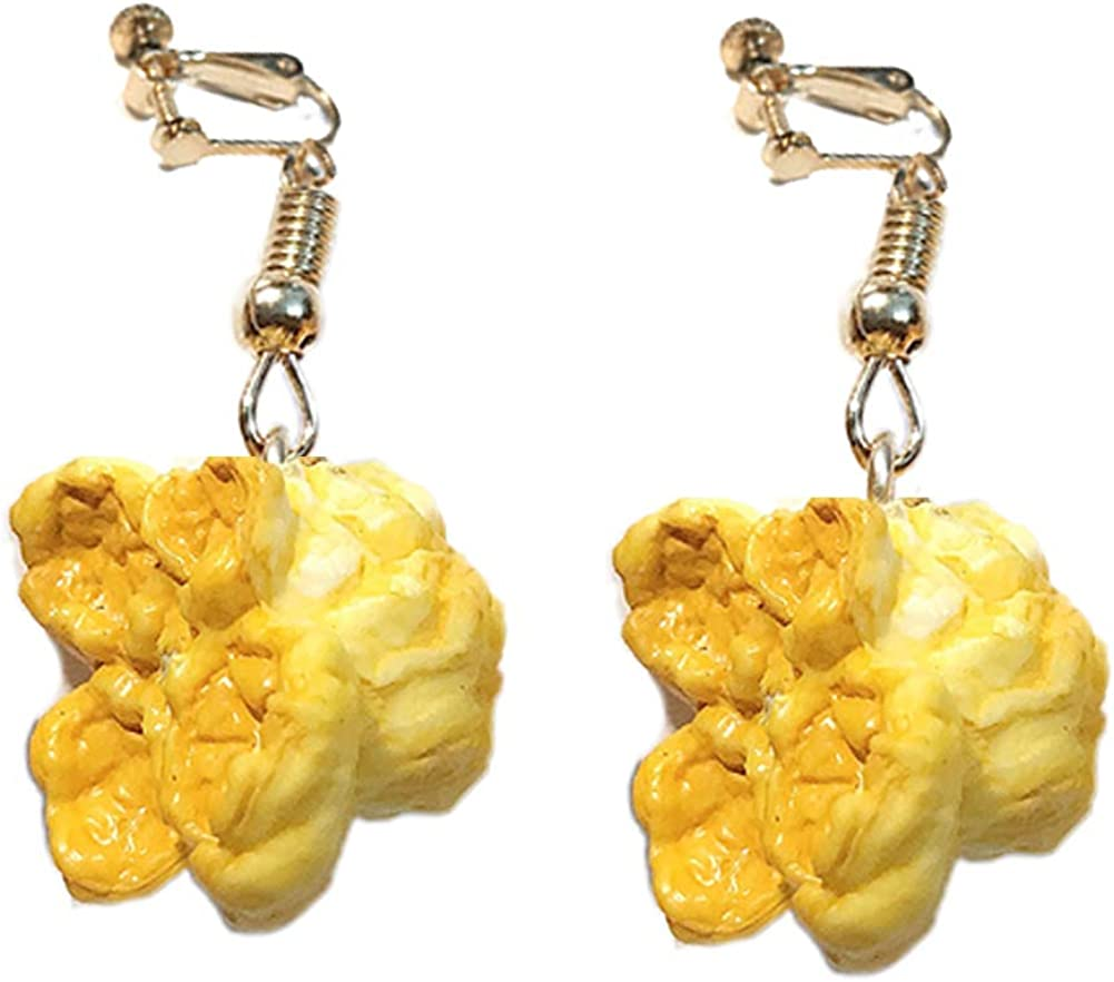 Walbest Earrings Funny Women Popcorn Food Dangle Ear Clip Hook Earrings Party Club Jewelry Gift (White Ear Hook)