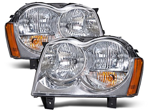 HEADLIGHTSDEPOT Compatible with Jeep Grand Cherokee New Headlights Headlamps Set New Pair