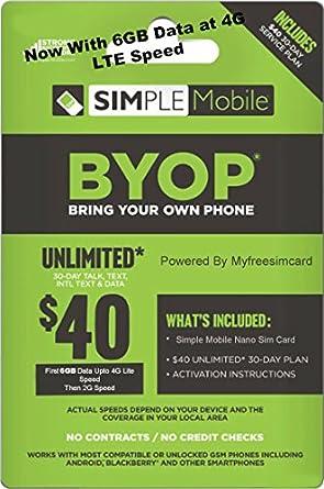 Amazon.com: Plan de tarjeta nano sim móvil con 40 Dólares ...