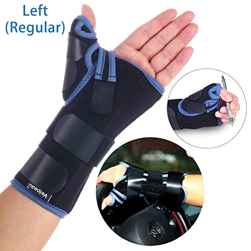 Velpeau Wrist Brace with Thumb Spica Splint Support for De Quervains, Scaphoid Fracture, Sprain or Muscle Strain, Carpal Tunnel Relief, Injury Recovery for Men & Women (Regular, Left Hand - Large)
