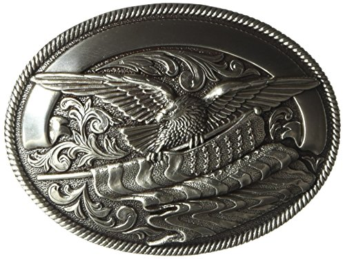 Flag Eagle Belt Buckle - Nocona Men's Silver Eagle Flag Buckle, One Size