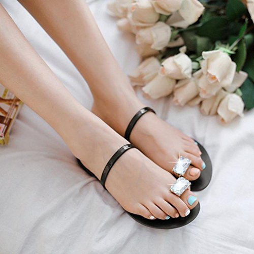 IGEMY Summer Women's Flip-Flops Slippers Beach Sandals Women Rhinestone Flat Heel Anti Skidding Beach Shoes Sandals Slipper Black ntByJY9sQO