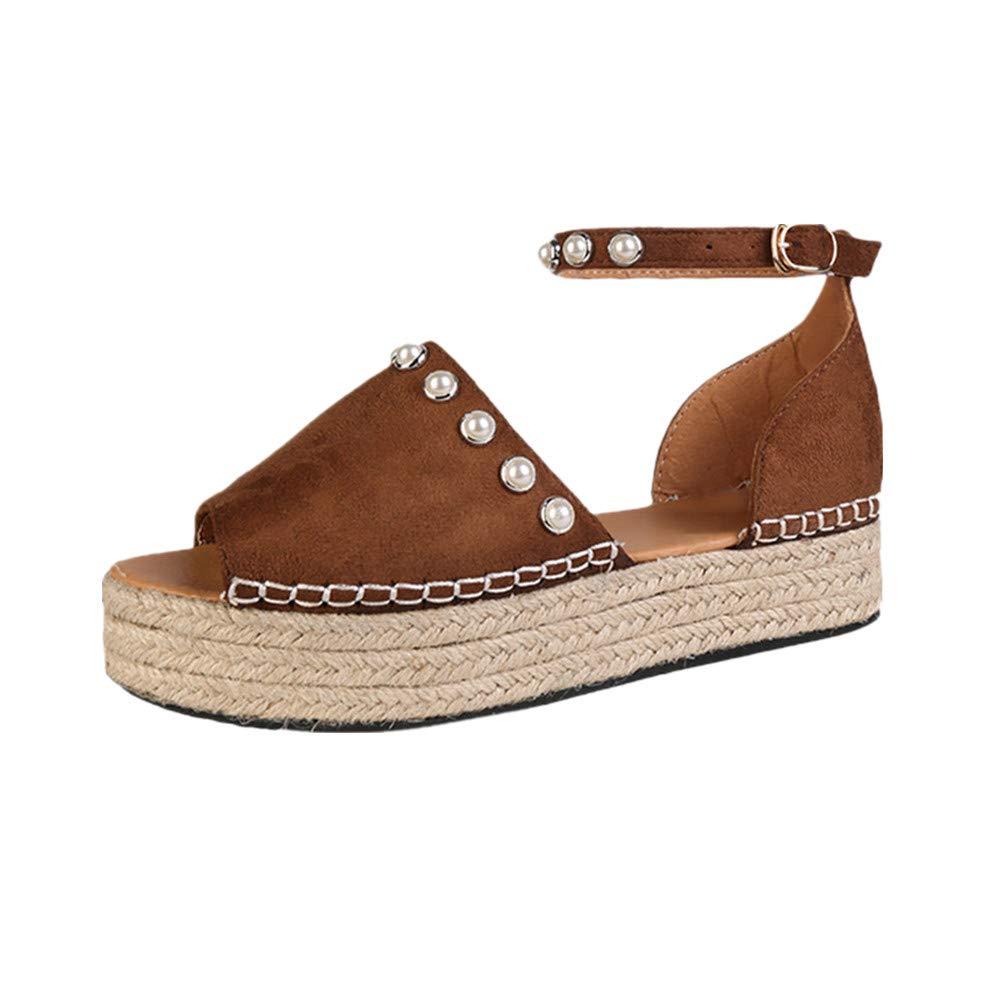 Women Sandals, LIM&Shop Casual Espadrilles Trim Flatform Studded Wedge Shoes Ankle Strap Stud Peep Toe Pearl Sandals Brown
