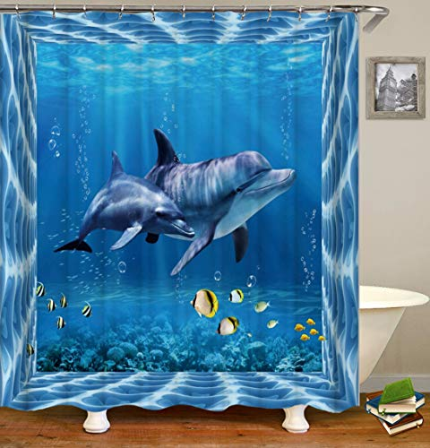Lemoner Sea Dolphins Animals Theme Shower Curtain Decor by, Polyester Fabric Waterproof Shower Curtain for Bathroom, 72X72in, Shower Curtains Hooks Included.