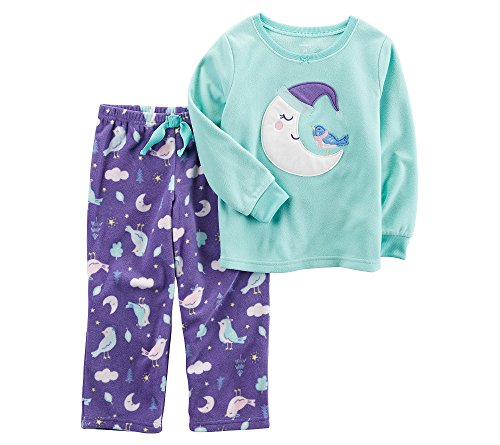 Carter's Baby Girls' 12M-8 2 Piece Moon Bird Fleece Pajama Set, Blue/Purple, 18 Months