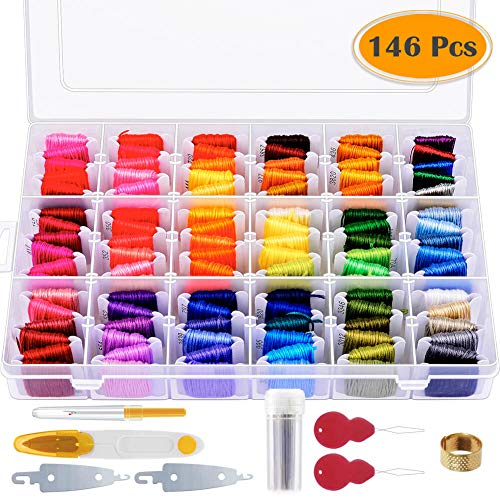 Paxcoo 146 Pcs Embroidery Floss with Organization Box Includ