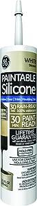 GE Silicone GE7000 10.1oz 9.0 Oz White Paintable Silicone II Caulk, (Pack of 12)